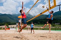 Leo Mohoric vs Vasja Plesec at Zavarovalnica Triglav Beach Volley Open as tournament for Slovenian national championship on July 29, 2011, in Preddvor, Slovenia. (Photo by Matic Klansek Velej / Sportida)