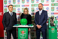 Phil Neville and Louis Carey conduct the semi final draw in the tunnel at Ashton Gate after Korey Smith of Bristol City scores a goal in the 93rd minute to make it 2-1 and win the match for his side - Rogan/JMP - 20/12/2017 - Ashton Gate Stadium - Bristol, England - Bristol City v Manchester United - Carabao Cup Quarter Final.