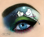 Fairy tales on an eyelid: Artist paints great stories in fine detail using just make-up<br /> <br /> Tal Peleg is a female blogger, make-up artist and designer from Israel<br /> Has more than 7,000 likes on Facebook and 9,000 Instagram followers<br /> <br /> An artist has interpreted some of life's greatest stories in fine detail - on just an eyelid.<br /> Make-up professional and blogger Tal Peleg, from Israel, paints fairy tales and great novels onto tiny areas of the face using only liquid eyeliner and eyeshadow.<br /> With clever mixing techniques and a steady hand, she recreated scenes from Snow White, The Princess And The Frog, The Little Prince, The Ugly Duckling and Les Misérables, as well as more novel designs.<br /> <br /> We've all heard of 'cat eye' make up, but Tal took this quite literally and designed make up of an actual cat playing with yarn.<br /> The cat's tail was painted on her eyebrow and she stuck a real tiny ball of string on her face.<br /> Tal says the power she sees in makeup 'is not just the ability to make a woman more beautiful, but in general its ability to transform'.<br /> She has more than 7,000 likes on Facebook and 9,000 followers in Instagram, where she posts regular updates of her new designs and inspiration.<br /> <br /> Modelling her creations on herself, Tal's bright blue eyes make the designs stand out.<br /> For The Princess And The Frog, the artist uses her eyebrow for the Princess's hair, and paints on a bow to emphasise this.<br /> Tal's Les Mis design incorporates the broken black lines and watercolour effect of the poster. She uses the same technique of taking the artwork colour scheme for her Little Prince eyelid.<br /> Other designs include children's show The Moomins and Kick-Ass inspired make-up.<br /> Recently, she posted a step-by-step guide to how she created her Ugly Duckling eyelid.<br /> ©Tal Peleg/Exclusivepix