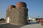 The water tower at the Recently restored Ottoman railway station at Tzemach (Samakh) on the southern shores of the Sea of Galilee, Israel (Inaugurated in 1905)