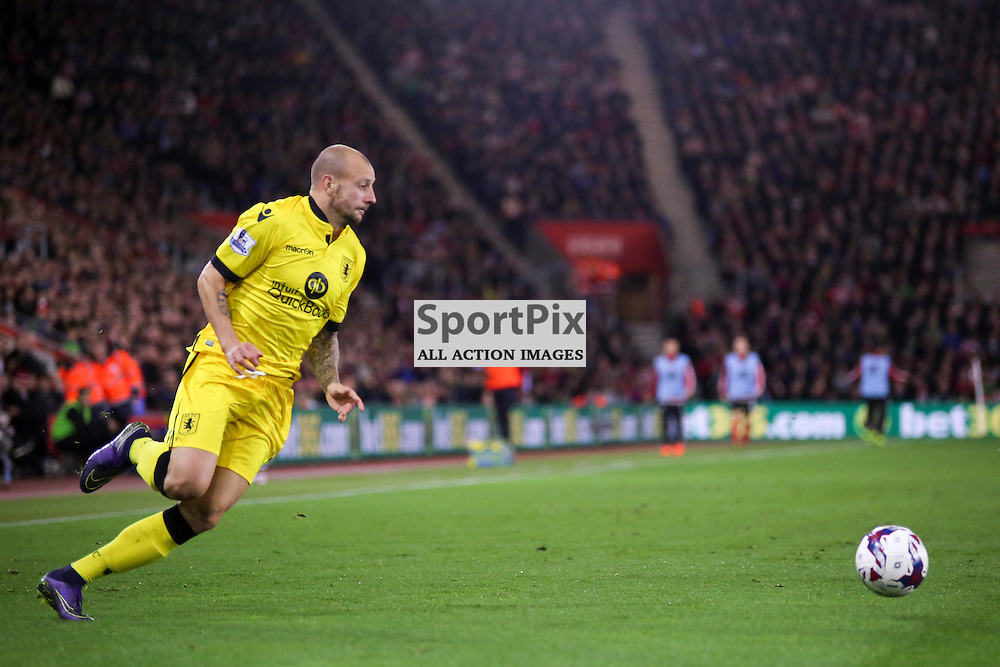 Alan Hutton runs with the ball During Southampton vs Aston Villa on Wednesday the 28th October 2015.