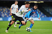 Dries Mertens of Napoli (R) and Joakim Maehle of Genk (L) in action during the UEFA Champions League, Group E football match between SSC Napoli and KRC Genk on December 10, 2019 at Stadio San Paolo in Naples, Italy - Photo Federico Proietti / ProSportsImages / DPPI
