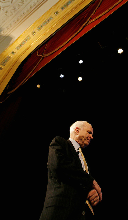 "Sen. John McCain (R - Arizona) speaks during an event labeled as an ""Exchange of Ideas"" at a theater in New York, New York on Thursday 08 March 2007. McCain, who has unofficially announced that he is running to be President of the United States, spoke to supporters about issues and took questions from the audience."