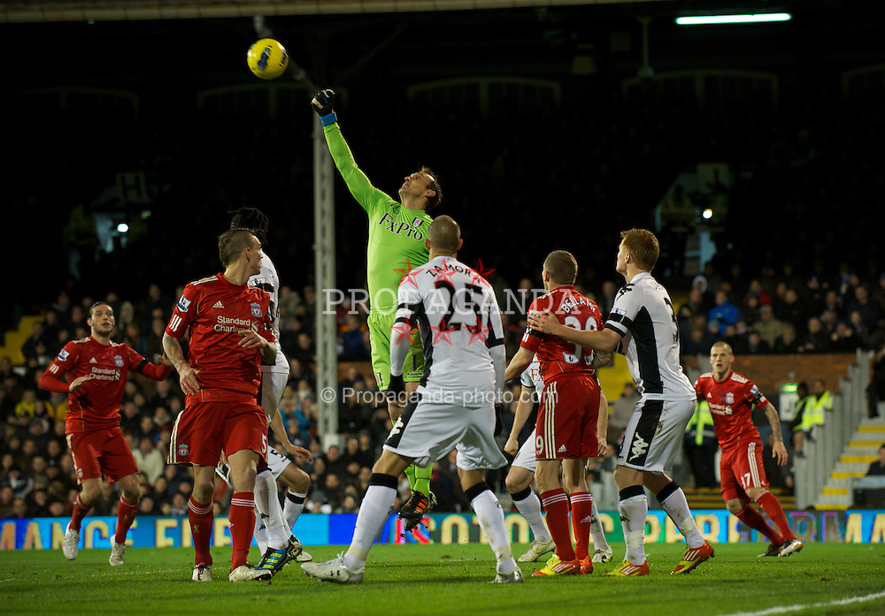 LONDON, ENGLAND - Monday, December 5, 2011: Fulham's goalkeeper Mark Schwarzer during the Premiership match against Liverpool at Craven Cottage. (Pic by David Rawcliffe/Propaganda)