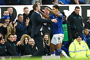 Everton forward Dominic Calvert-Lewin (9) celevrates his goal with Everton Caretaker Manager Duncan Ferguson 3-1 during the Premier League match between Everton and Chelsea at Goodison Park, Liverpool, England on 7 December 2019.