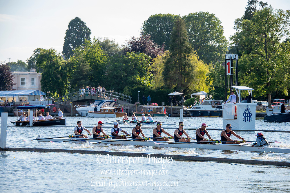 Henley on Thames, England, United Kingdom, 3rd July 2019, Henley Royal Regatta, University of Pennsylvania, USA,. passing the 1 and 1/8 mile barrier, in their heat of, Temple Challenge Trophy, Henley Reach, [© Peter SPURRIER/Intersport Image]<br /> <br /> 19:22:04 1919 - 2019, Royal Henley Peace Regatta Centenary,
