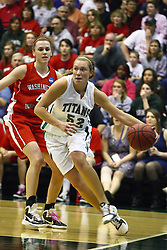 18 March 2011: Stacey Arlis woks the corner and baseline after passing Kathryn Berger during an NCAA Womens basketball game between the Washington University Bears and the Illinois Wesleyan Titans at Shirk Center in Bloomington Illinois.