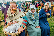 Wulfstan Eric Randerson, 12 days old, at his first 1066 re-enactment with his parents in the Norman Camp. Ypoung enought to be at the 1000 year anniversary  - English Heritage's annual re-enactment of the Battle of Hastings marks the 950th anniversary of the Battle in 1066. The event includes a Cavalry encampment, Norman & Saxon encampments and Medieval traders. It takes place at Battle Abbey on October 15th and 16th.