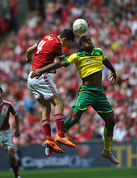 Brough Daniel Ayala holds of Norwich Cameron Jerome, Middlesbrough v Norwich, Sky Bet Championship, Play Off Final, Wembley Stadium, Monday  25th May 2015