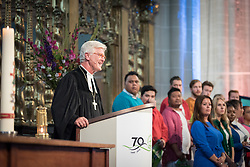 23 August 2018, Amsterdam, Netherlands: Heinrich Bedford-Strohm, president of the Council of the Evangelical Church in Germany (EKD) shares an invitation to the WCC 11th Assembly, to be held in Karlsruhe, Germany. Hundreds of people gather from across the world for an ecumenical prayer service at the Nieuwe Kerk, a 15th-century church in Amsterdam, to celebrate the 70th anniversary of the World Council of Churches at the very spot in which the organization was founded. Under the theme ìWalking, Praying and Working Together,î pilgrims from all over the world attend the service.