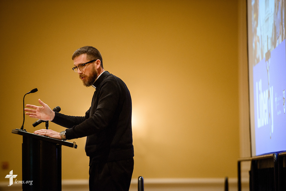 The Rev. Christopher Thoma, pastor of Our Savior Evangelical Lutheran Church and School in Hartland, Mich., speaks at the Liberty National LCMS Campus Ministry Conference on Wednesday, Jan. 4, 2017, at the University of Maryland in College Park, Md. LCMS Communications/Erik M. Lunsford