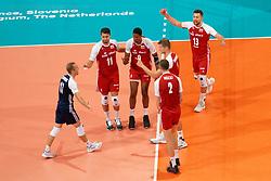 21-09-2019 NED: EC Volleyball 2019 Poland - Spain, Apeldoorn<br /> 1/8 final EC Volleyball / Team Poland, Wilfredo Leon Venero #9 of Poland, Michał Kubiak #13 of Poland, Fabian Drzyzga #11 of Poland