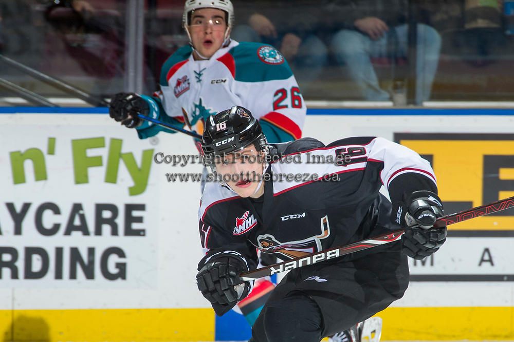 KELOWNA, CANADA - MARCH 7: Davis Koch #16 of the Vancouver Giants skates against the Kelowna Rockets  on March 7, 2018 at Prospera Place in Kelowna, British Columbia, Canada.  (Photo by Marissa Baecker/Shoot the Breeze)  *** Local Caption ***