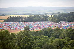 Campsite as seen from the ferris wheel.  Friday, 10th July 2015, First day at T in the Park 2015, at its new home at Strathallan Castle.