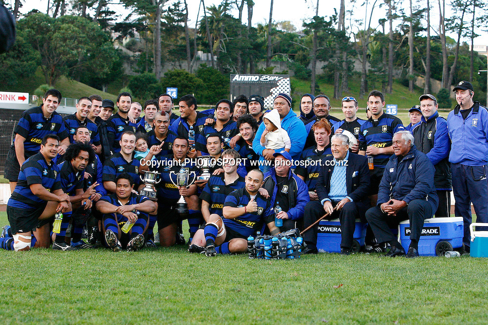 Ponsonby players pose for a photo after winning the Waka Nathan Challenge Cup Final, Auckland Premier Club Rugby match, Ponsonby v Marist at Western Springs Stadium, Auckland, New Zealand. Saturday 6 June 2009. Photo: Anthony Au-Yeung/PHOTOSPORT