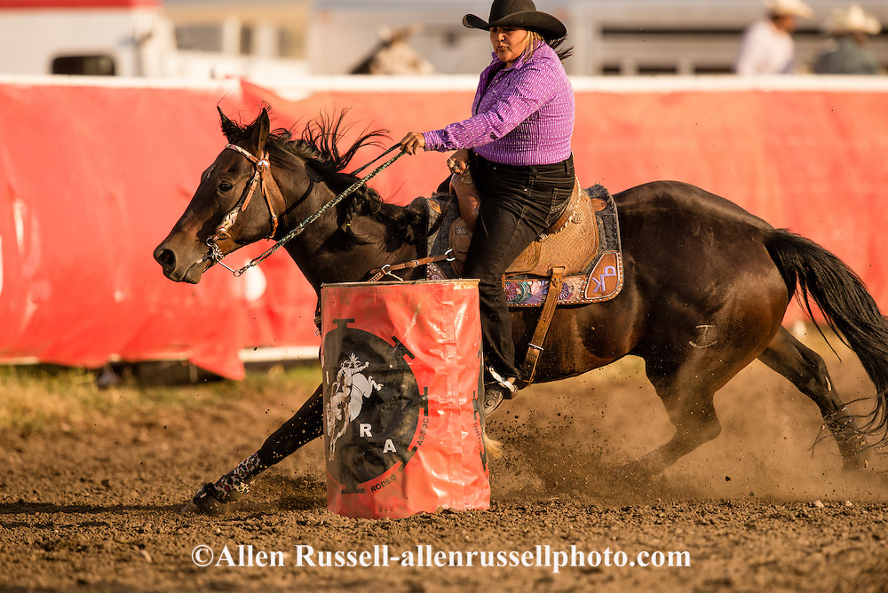 Rocky Boy Rodeo Indian teenager competes in Pole Bending