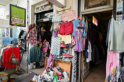 Secondhand shop in bohemian Prenzlauer Berg district of Berlin Germany