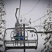 Riding through a winter storm on chair 8 at Mount Baker Ski Area.