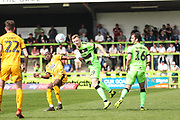 Forest Green Rovers Nathan McGinley(19) heads the ball during the EFL Sky Bet League 2 match between Forest Green Rovers and Cambridge United at the New Lawn, Forest Green, United Kingdom on 22 April 2019.