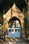 Church lych gate at East Lulworth, Wareham, Dorset, England, UK