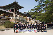 Bulguksa Temple, declared World Cultural Heritage in 1995. Student group from Japan visiting.