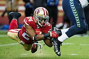 San Francisco 49ers defensive back K'Waun Williams (24) tackles Seattle Seahawks running back Eddie Lacy (27) at Levi's Stadium in Santa Clara, Calif., on November 26, 2017. (Stan Olszewski/Special to S.F. Examiner)