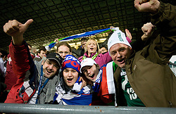 Fans of Slovenia  celebrate at  FIFA World Cup Sout Africa 2010 Qualifying Second Play off match between Slovenia and Russia, on November 18, 2009, in Stadium Ljudski vrt, Maribor, Slovenia. Slovenia won 1:0 and qualified for the FIFA World Championships 2010. (Photo by Vid Ponikvar / Sportida)