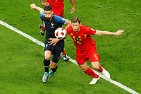 SAINT PETERSBURG, RUSSIA - JULY 10: Olivier Giroud (L) of France national team and Jan Vertonghen of Belgium national team vie for the ball during the 2018 FIFA World Cup Russia Semi Final match between France and Belgium at Saint Petersburg Stadium on July 10, 2018 in Saint Petersburg, Russia. MB Media