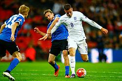 Ross Barkley of England under pressure from Aleksandr Dmitrijev of Estonia - Mandatory byline: Jason Brown/JMP - 07966 386802 - 09/10/2015- FOOTBALL - Wembley Stadium - London, England - England v Estonia - Euro 2016 Qualifying - Group E