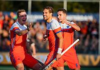 AMSTELVEEN -  Bjorn Kellerman (Ned) heeft de stand op 1-0 gebracht tijdens de eerste Olympische kwalificatiewedstrijd hockey mannen ,  Nederland-Pakistan.  KNHB/  KOEN SUYK