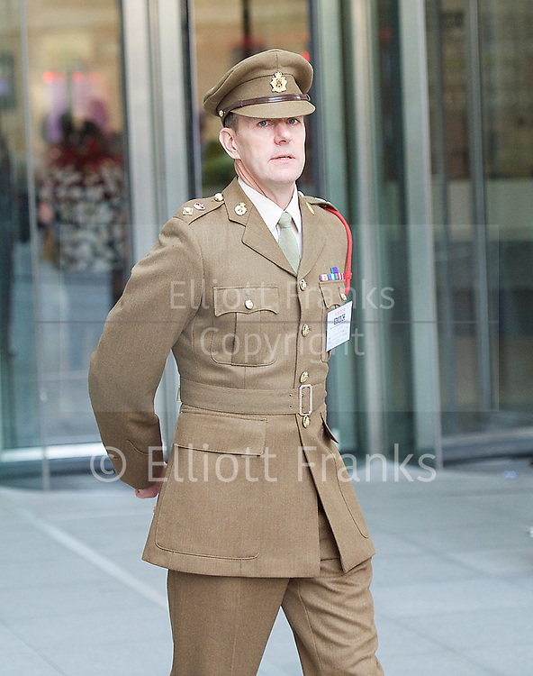 The Band of the Coldstream Guards outside the <br /> BBC, Broadcasting House, London, Great Britain <br /> 9th April 2017 <br /> <br /> <br /> Lieutenant Colonel Darren Wolfendale<br /> Principal Director of Music<br /> of the British Army <br /> <br /> <br /> <br /> The band of the Coldstream Guards <br /> playing &quot;Pacific&quot; live on BBC Radio 4 <br /> to promote the forthcoming St George's Day concert at Cadogan Hall, Chelsea on 22nd April 2017 in aid of Combat Stress <br /> <br /> Photograph by Elliott Franks <br /> Image licensed to Elliott Franks Photography Services