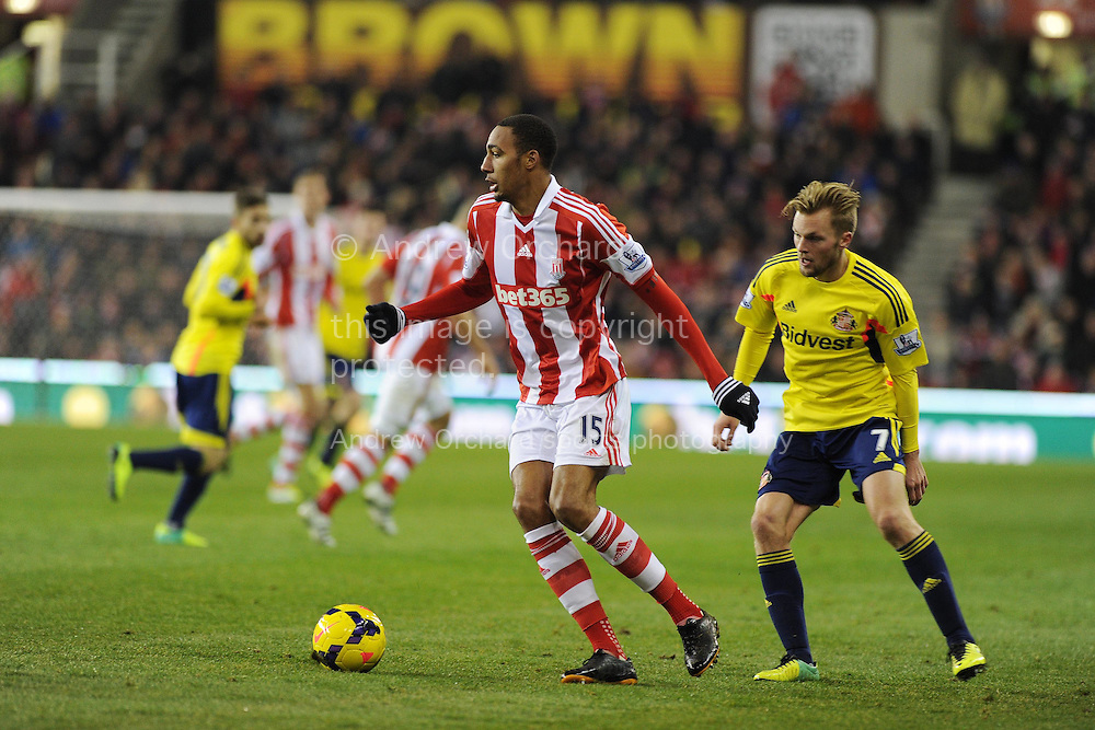 Steven Nzonzi of Stoke city in action. Barclays Premier league, Stoke city v Sunderland at the Britannia stadium in Stoke on Trent, England on Saturday 23rd Nov 2013. pic by Andrew Orchard, Andrew Orchard sports photography,
