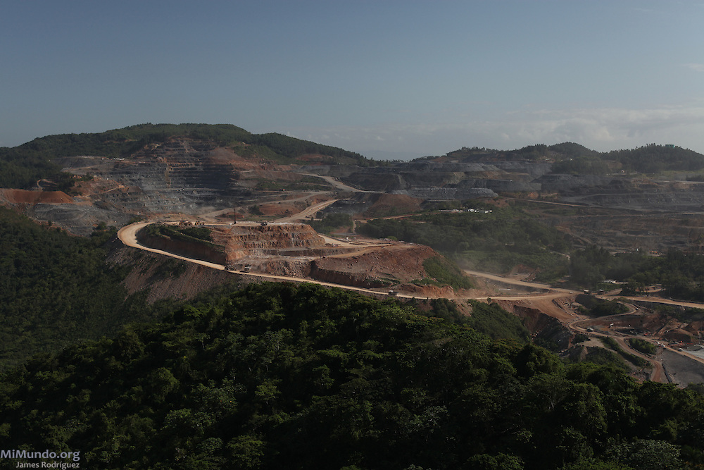 View of the open-pit benches of Barrick and Goldcorp's Pueblo Viejo gold mine in Cotuí, Sánchez Ramírez, Dominican Republic. Most of the benches were leftover from the Rosario Dominicana days. View north from the Cerro del Chivo peak. April 2012.