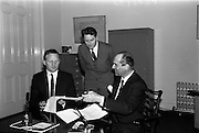 10/05/1965<br /> 05/10/1965<br /> 10 May 1965<br /> (Left to right) Mr. G. C. Crampton, managing director of G. &amp; T. Crampton Ltd., Mr. John Costello, architect, and Mr. A. Kennedy Kirsch, chairman and managing director of M.E.P.C. (Ireland) Ltd.,  sign the contract for the building of the Stillorgan Shopping Centre.