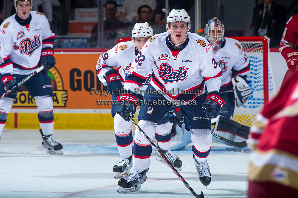 REGINA, SK - MAY 27: Robbie Holmes #32 of Regina Pats skates against the Acadie-Bathurst Titan at the Brandt Centre on May 27, 2018 in Regina, Canada. (Photo by Marissa Baecker/CHL Images)