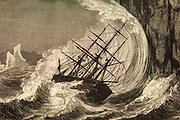 Sailing vessel being dashed against cliffs during storm in the Arctic