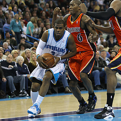 30 January 2009:  New Orleans Hornets guard Chris Paul (3) drives past Golden State Warriors guard Jamal Crawford (6) during a 91-87 loss by the New Orleans Hornets to Golden State Warriors at the New Orleans Arena in New Orleans, LA.