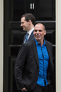 Downing Street, London, UK. 2nd February, 2015. Greece's new finance minister, Yanis Varoufakis of the Syriza party, leaves 11 Downing Street in London.