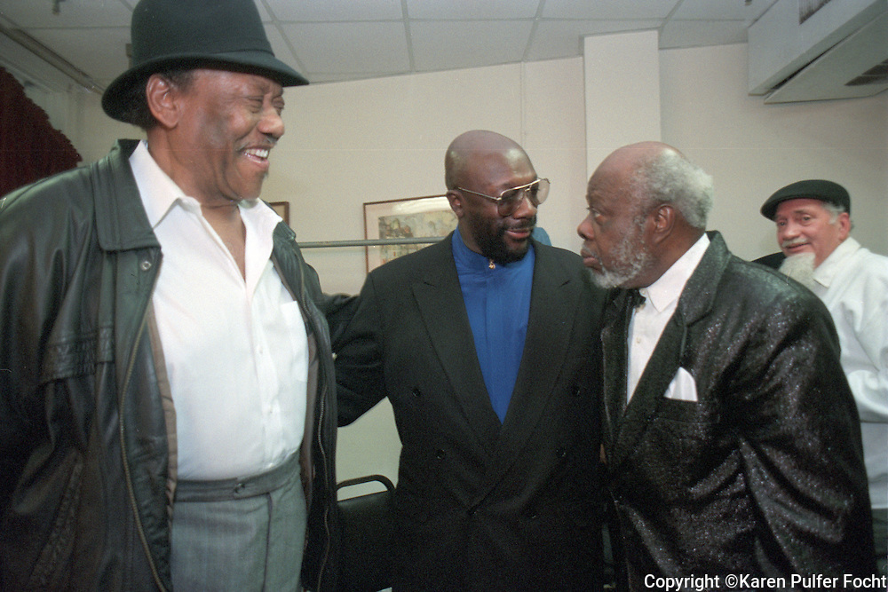 Bobby Blue Bland, Issac Hayes, and Rufus Thomas enjoy a private moment together back stage in Memphis, Tennessee. © Karen Pulfer Focht-ALL RIGHTS RESERVED-NOT FOR USE WITHOUT WRITTEN PERMISSION