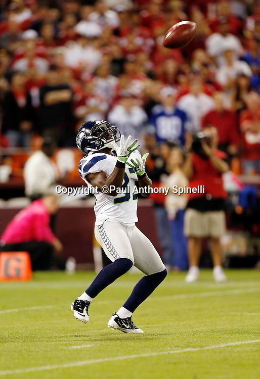 Seattle Seahawks punt returner Leon Washington (33) catches a punt during pregame warmups at the NFL week 7 football game against the San Francisco 49ers on Thursday, Oct. 18, 2012 in San Francisco. The 49ers won the game 13-6. ©Paul Anthony Spinelli