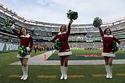 Dec 24, 2017; East Rutherford, NJ, USA; New York Jets flight crew cheerleaders perform in Christmas costumes during an NFL football game against the Los Angeles Chargers at MetLife Stadium.