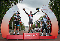 Adam Blythe (GBR) of NFTO winner of the RideLondon-Surrey Classic on the podium with second placed Ben Swift (GBR) of Sky Pro Cycling and third placed Julian Alaphillipe (FRA) of Omega Pharma- Quick Step. Sunday 10th August 2014<br /> Prudential RideLondonis the world&rsquo;s greatest festival of cycling involving 70,000+ cyclists &ndash; from Olympic champions to a free family fun ride - riding in five events over closed roads in London and Surrey over the weekend of 9th and 10th August. <br /> <br /> Photo: Scott Heavey for Prudential RideLondon<br /> <br /> See www.PrudentialRideLondon.co.uk for more.<br /> <br /> For further information: Penny Dain 07799 170433<br /> pennyd@ridelondon.co.uk