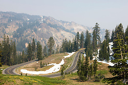 The scenic main road winds its way through Lassen Volcanic National Park, California, USA.