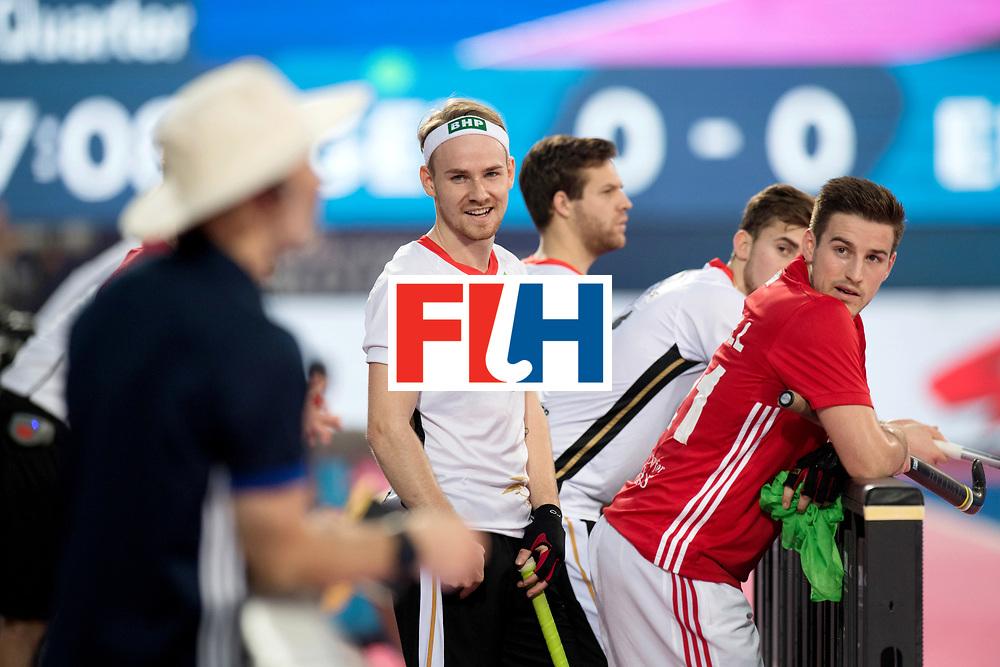 Odisha Men's Hockey World League Final Bhubaneswar 2017<br /> Match id:01<br /> Germany v England<br /> Foto: Christopher Ruhr joking with Russel Garcia.<br /> WORLDSPORTPICS COPYRIGHT FRANK UIJLENBROEK