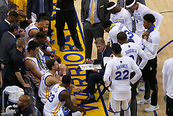 Golden State Warriors head coach Steve Kerr talks to his team during a time out against the Cleveland Cavaliers in the first quarter of Game 5 of the NBA Finals at Oracle Arena in Oakland, Calif., on Monday, June 12, 2017. (Photo by Nhat V. Meyer/Bay Area News Group/TNS) *** Please Use Credit from Credit Field ***