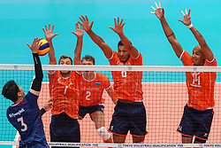 09-08-2019 NED: FIVB Tokyo Volleyball Qualification 2019 / Netherlands, - Korea, Rotterdam<br /> First match pool B in hall Ahoy between Netherlands - Korea for one Olympic ticket / (L-R) Gyeong-Bok Na #3 of Korea, Gijs Jorna #7 of Netherlands, Fabian Plak #8 of Netherlands, Nimir Abdelaziz #14 of Netherlands