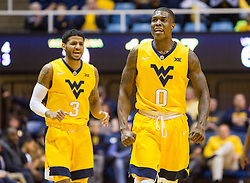 Dec 10, 2016; Morgantown, WV, USA; West Virginia Mountaineers guard Teyvon Myers (0) celebrates after a turnover during the first half against the Virginia Military Keydets at WVU Coliseum. Mandatory Credit: Ben Queen-USA TODAY Sports