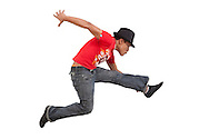 young urban dancer taken to the studio with a white background