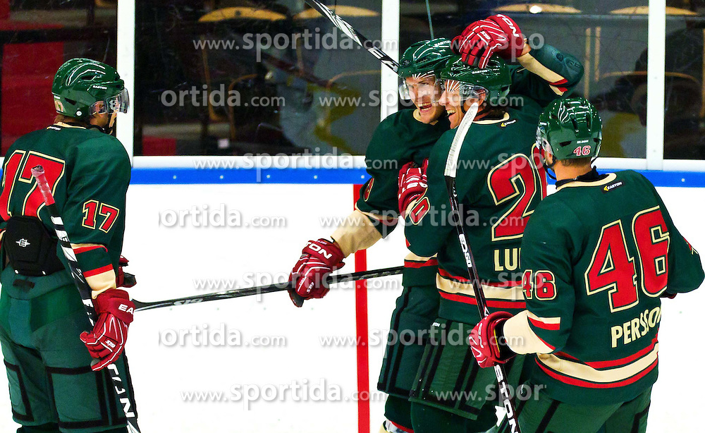 11.08.2011, Eishalle, Göteborg, SWE, European Trophy, Frölunda Indians vs Eisbären Berlin, im Bild Frölunda 9 Magnus Kahnberg celebrates his goal in the first period during the on August 11, 2011 in Gothenburg, EXPA Pictures © 2011, PhotoCredit EXPA/ PICAGENCY Skycam/ Per Friske *** ATTENTION *** SWEDEN OUT