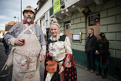 © Licensed to London News Pictures. 05/11/2016. Lewes, UK.  Revellers in Lewes, East Sussex, ahead of the annual bonfire night parade. The celebrations, which mark the Guy Fawkes 1605 Gunpowder Plot to blow up Parliament, date back to the 1850s. Photo credit: Rob Pinney/LNP